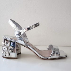 Miu Miu Embellished Sandals Heel Shoes - Silver